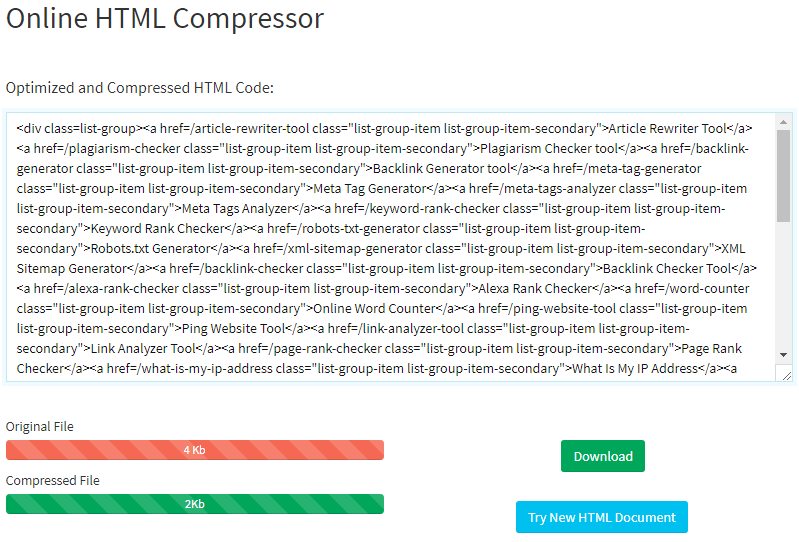 html image compression